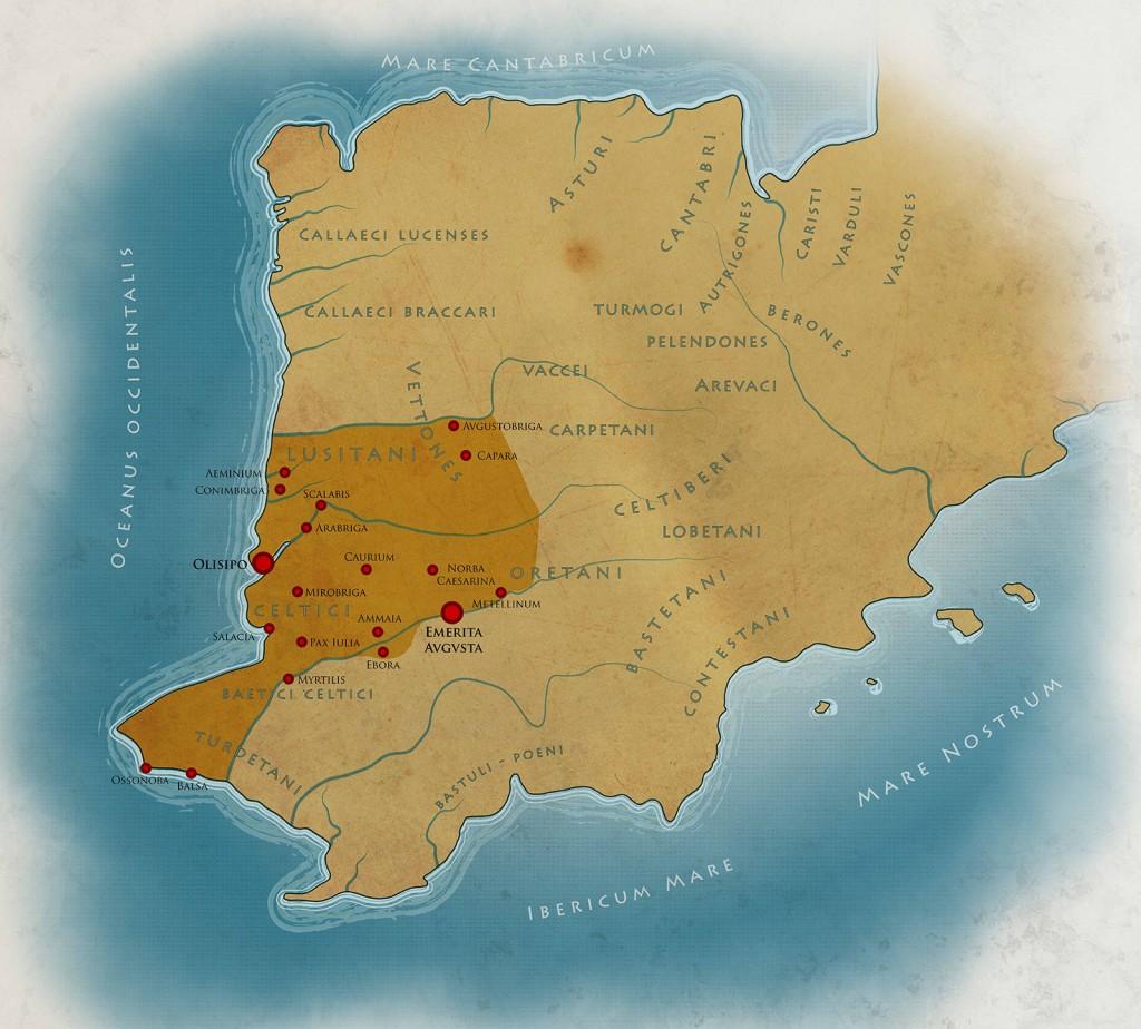 Mapa de la Península Ibérica según Ptolomeo. Archivo MNAR. Exposición Lvistania Romana.