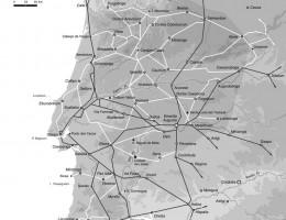 Mapa de la provincia Lusitania con las principales vías de comunicación según Vasco Gil Mantas (2012).
